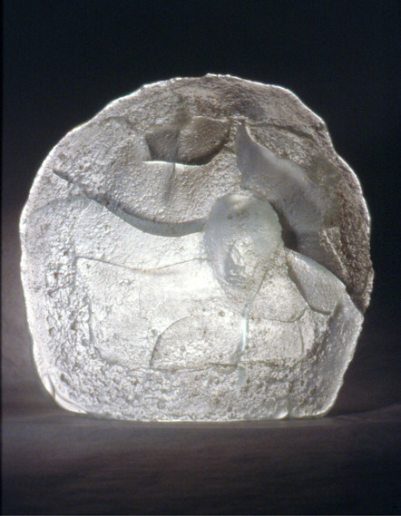 """Christian Bernard Singer Veiled Allusion II (2001) Cast (hot ladled) glass 8"""" x 6"""" x 3"""" Cast made from the bronzes of The Hidden Phallus series (2000) with Alfred Engerer, Geisterblitz Studio, Toronto."""