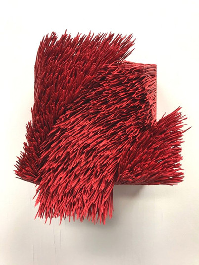 Christian Bernard Singer Red II, No. 7 (Up), 2019 Pine needles and paint on wood