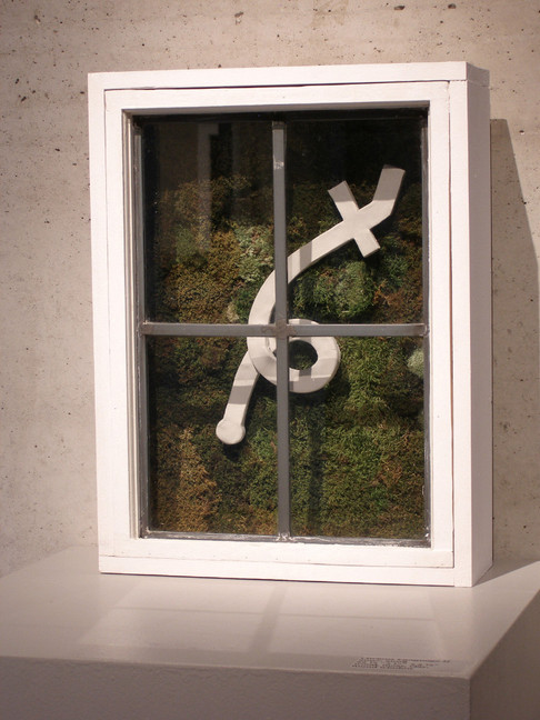 Christian Bernard Singer Untitled 3, 2007 From Cabinets of Curiosities series Moss, clay, found windows, wood