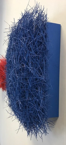 "Christian Bernard Singer Plush, 2018 Pine needles, paint, mixed media on wood  11.5"" x 11.5"" x 3.75"""
