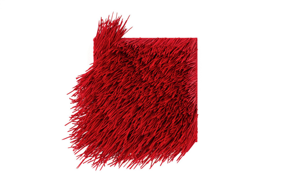 "Christian Bernard Singer Red II, No. 25, 2016 Pine needles, paint and pigment on wood base 9"" x 8"" x 3.25"""