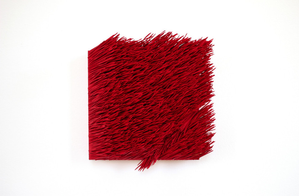 "Christian Bernard Singer Red II, No. 1, 2016 Pine needles, paint and pigment on wood base 6.75"" x 7.5"" x 3"""