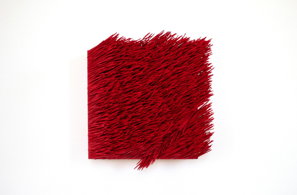 """Christian Bernard Singer Red II, No. 1, 2016 Pine needles, paint and pigment on wood base 6.75"""" x 7.5"""" x 3"""""""