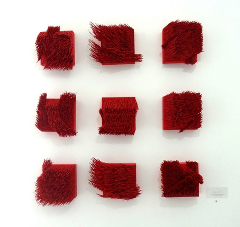 Christian Bernard Singer Grouping of Red II, 2015-17 Pine needles, paint, pigment on wood. Dimensions variable