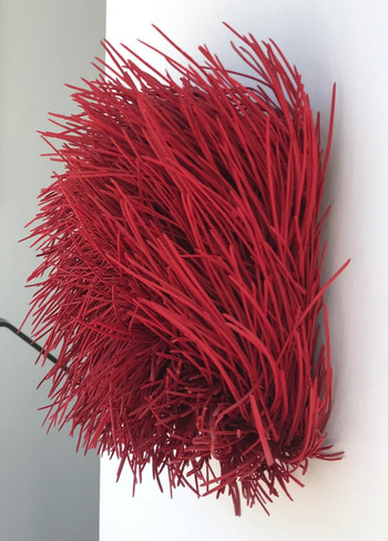 "Christian Bernard Singer Red I, 2014 Pine needles, pain on wood 14"" x 12"" x 6"" Private collection, Toronto"