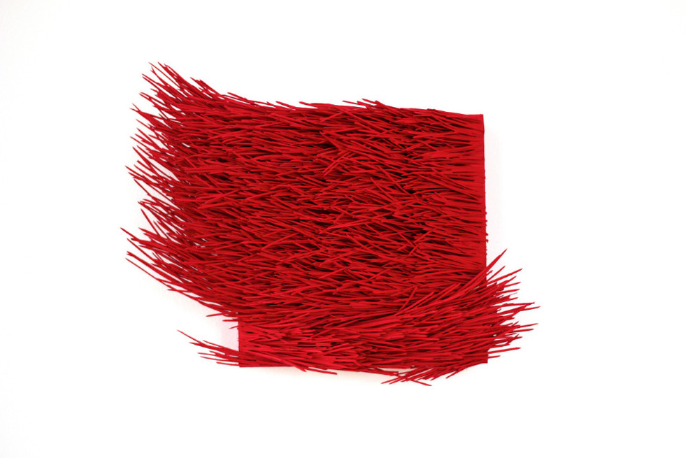 """Christian Bernard Singer Red II, No. 23, 2016 Pine needles, paint and pigment on wood base 10.25"""" x 7.5"""" x 3.75"""""""