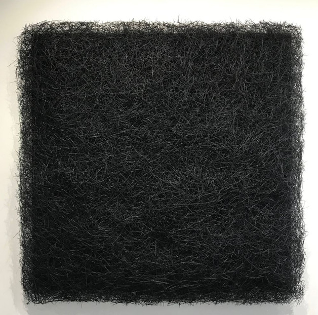 "Christian Bernard Singer Black Plush, 2019 Pine needles, paint, mixed media on wood 39"" x 39"" x 4"""