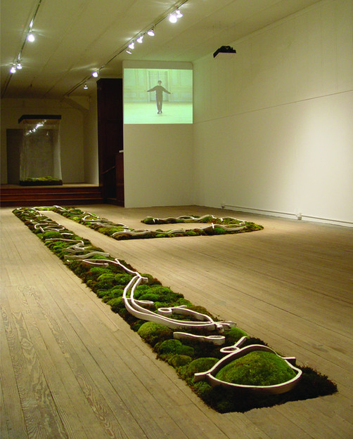 Christian Bernard Singer Entrée d'Apollon, 2003 Mosses, earth, unfired clay, engobe and video projection. MFA Thesis project at ArtSite, Wellsville, NY