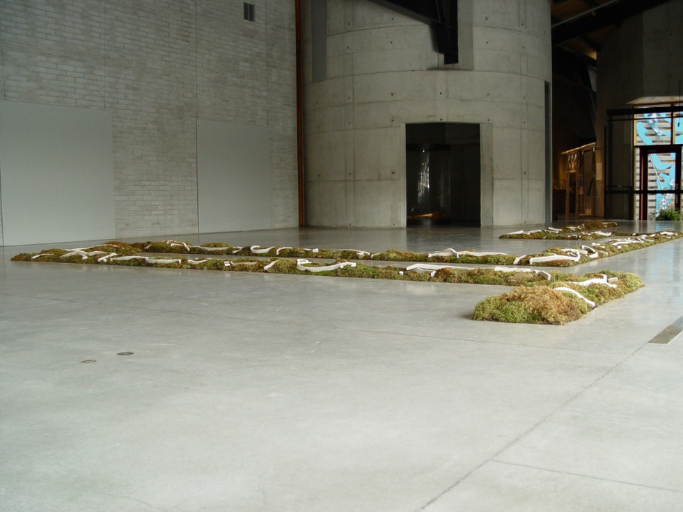 """Christian Bernard Singer Chaconne de Paeton, 2005 Moss, earth, unfired clay, engobe, video projection 70' x 45' x 8"""" Canadian Clay and Glass Gallery, Waterloo"""