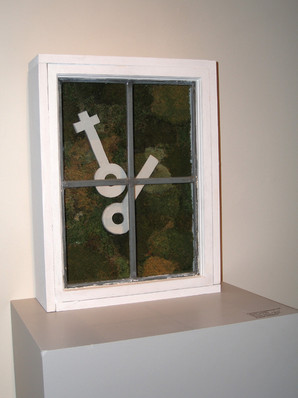 Christian Bernard Singer Untitled 2, 2007 From Cabinets of Curiosities series Moss, clay, found windows, wood
