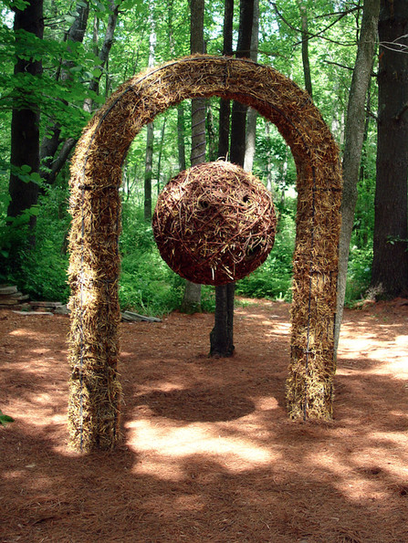 "Christian Bernard Singer Nest Hotel, 2008 Straw, hay, cane, pine needles, seeds and metal 8.5' x 40"" x 16"" Kiwi Garden Sculpture Project"
