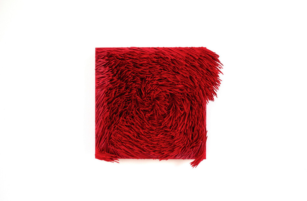"Christian Bernard Singer Red II, No. 13, 2016 Pine needles, paint and pigment on wood base 7"" x 6.5"" x 4"""