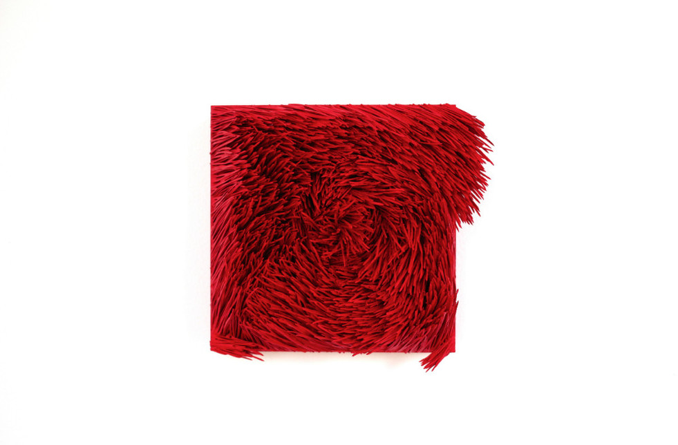"""Christian Bernard Singer Red II, No. 13, 2016 Pine needles, paint and pigment on wood base 7"""" x 6.5"""" x 4"""""""