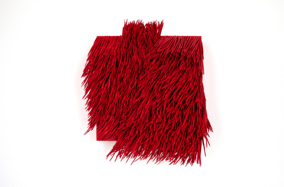 "Christian Bernard Singer Red II, No. 20, 2016 Pine needles, paint and pigment on wood base 7.5"" x 8.5"" x 3.5"""