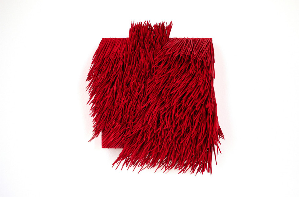"""Christian Bernard Singer Red II, No. 20, 2016 Pine needles, paint and pigment on wood base 7.5"""" x 8.5"""" x 3.5"""""""