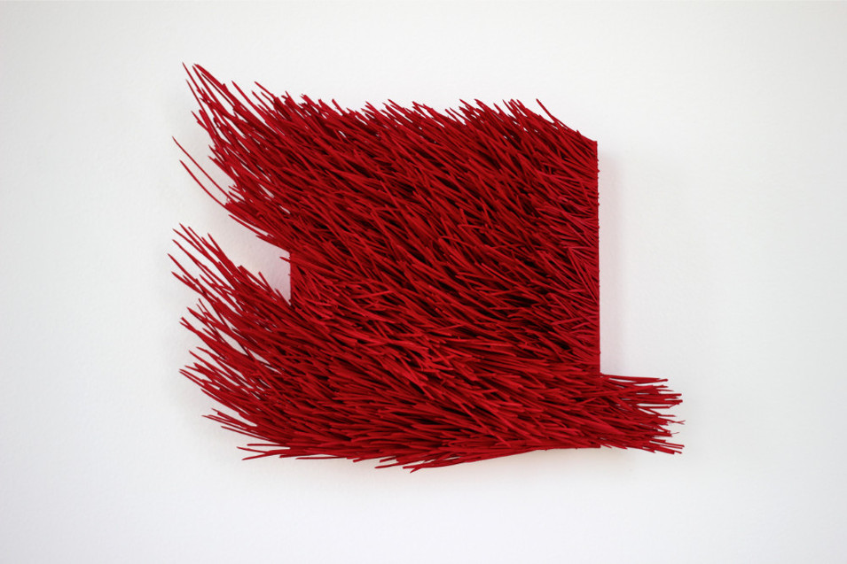 "Christian Bernard Singer Red II, No. 22, 2016 Pine needles, paint and pigment on wood base 10"" x 8"" x 3.75"""