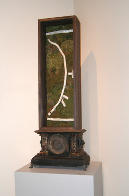 Christian Bernard Singer Untitled 10, 2008 From Cabinets of Curiosities series Moss, clay, found clock, wood Collection of the Canadian Clay and Glass Gallery, Waterloo