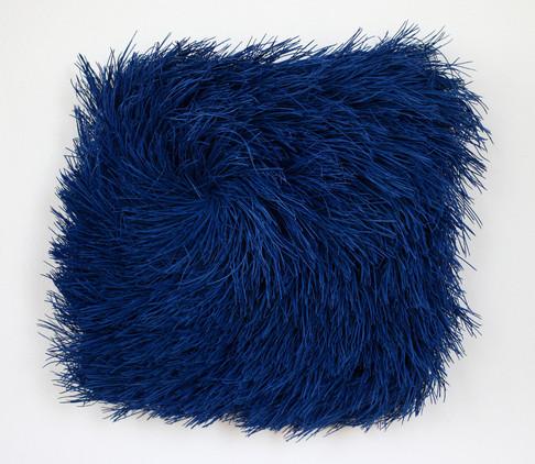 "Christian Bernard Singer Push, 2017 Pine needles, paint on wood base 13"" x 12"" x 4.5"" Headbones Gallery Collection"