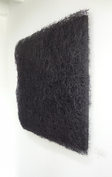 "Christian Bernard Singer Black Plush, 2019 Pine needles, paint, mixed media on wood 39"" x 39"" x 4"""