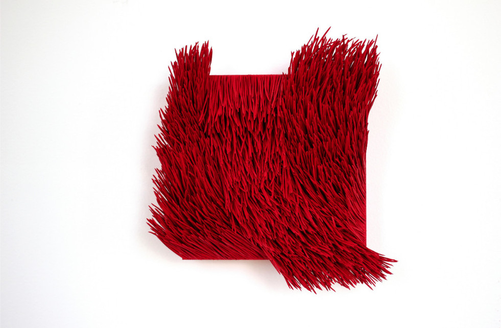 "Christian Bernard Singer Red II, No. 12, 2016 Pine needles, paint and pigment on wood base 8"" x 8"" x 3.25"""