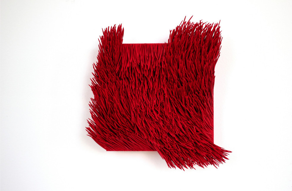 """Christian Bernard Singer Red II, No. 12, 2016 Pine needles, paint and pigment on wood base 8"""" x 8"""" x 3.25"""""""