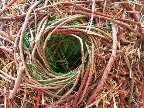 "Christian Bernard Singer Nest Hotel (detail), 2008 Straw, hay, cane, pine needles, seeds and metal 8.5' x 40"" x 16"" Kiwi Garden Sculpture Project"
