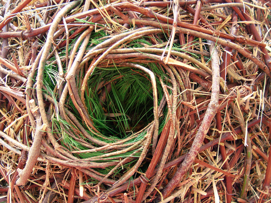 "Christian Bernard Singer Nest Hotel (detail), 2008 Straw, hay, cane, pine needles, seeds and metal 8.5' x 40"" x 16"" Kiwi Garden Sculpture Project"