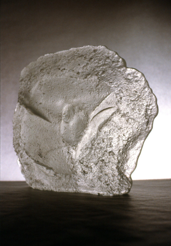 """Christian Bernard Singer Veiled Allusion I, Version 2 (2001) Sand cast (hot ladled) glass 9"""" x 8"""" x 4.5"""" Cast made from the bronzes of The Hidden Phallus series (2000) with Alfred Engerer, Geisterblitz Studio, Toronto."""
