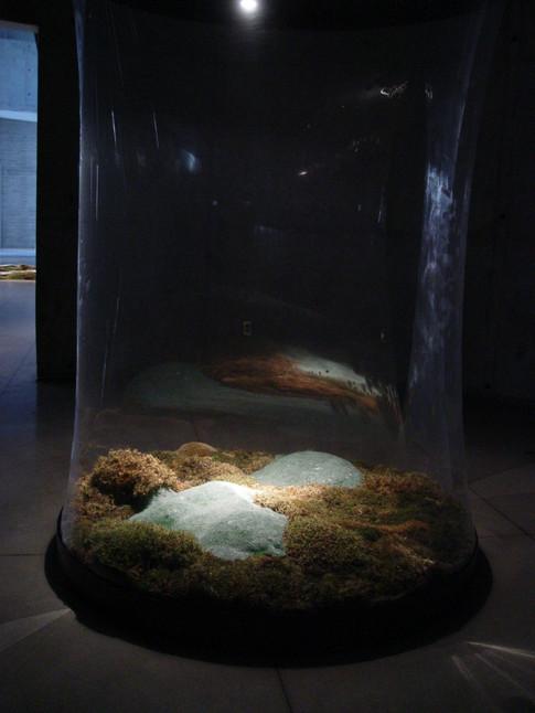 Christian Bernard Singer Enclosure III, 2005 Moss, cast glass, earth, plastic, light, wood 9' x 5' x 5' Canadian Clay and Glass GalleryChristian Bernard Singer