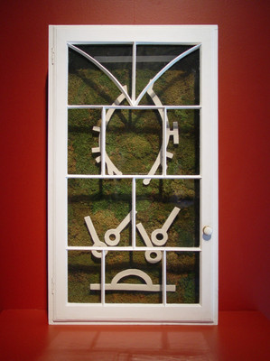 Christian Bernard Singer Untitled 8, 2008 From Cabinets of Curiosities series Moss, clay, found windows, wood