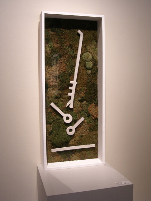 Christian Bernard Singer Untitled 9, 2008 From Cabinets of Curiosities series Moss, clay, found windows, wood