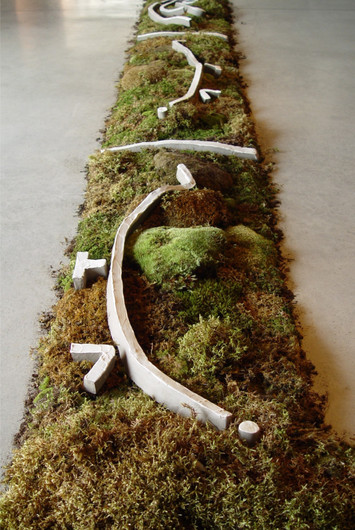 """Christian Bernard Singer Chaconne de Paeton (detail), 2005 Moss, earth, unfired clay, engobe, video projection 70' x 45' x 8"""" Canadian Clay and Glass Gallery, Waterloo"""