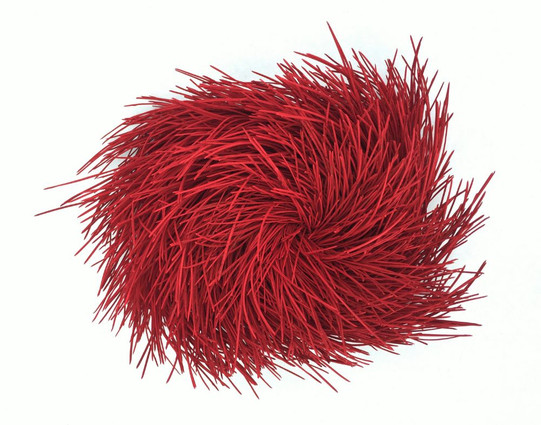 """Christian Bernard Singer Red I, 2014 Pine needles, pain on wood 14"""" x 12"""" x 6"""" Private collection, Toronto"""