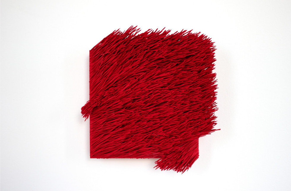 "Christian Bernard Singer Red II, No. 2, 2016 Pine needles, paint and pigment on wood base 7"" x 8"" x 3.25"""
