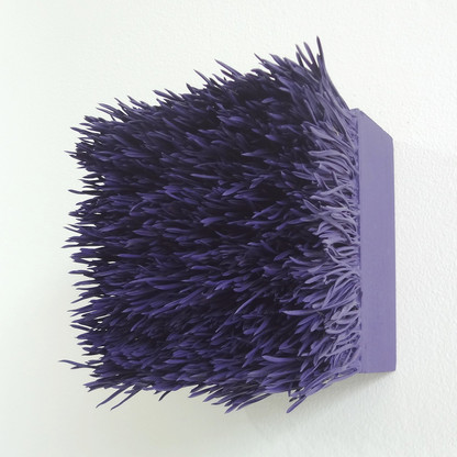 "Christian Bernard Singer Amethyst I, 2017 Pine needles, paint on wood base 4.5"" x 5"" x 3.75"""