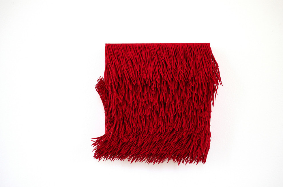 """Christian Bernard Singer Red II, No. 14, 2016 Pine needles, paint and pigment on wood base 7.5"""" x 7"""" x 3"""""""
