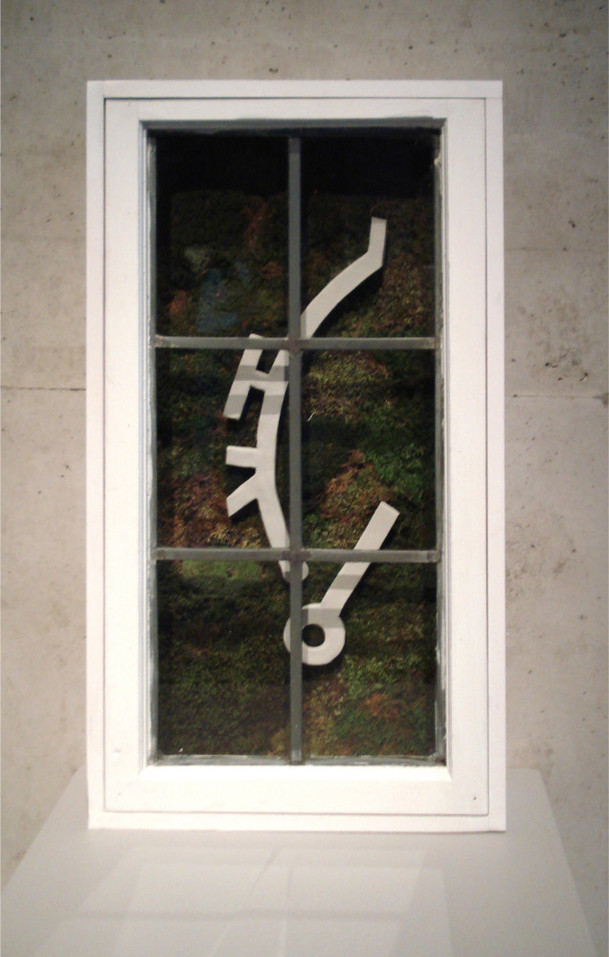 Christian Bernard Singer Untitled 6, 2007 From Cabinets of Curiosities series Moss, clay, found windows, wood