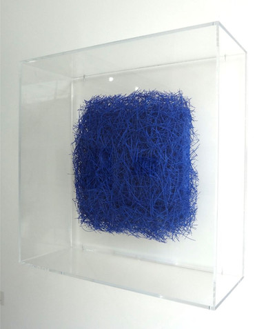 "Christian Bernard Singer Plush, 2018 Pine needles, paint, mixed media on wood  11.5"" x 11.5"" x 3.75"" (with frame: 20"" x 20"" x 8"")"