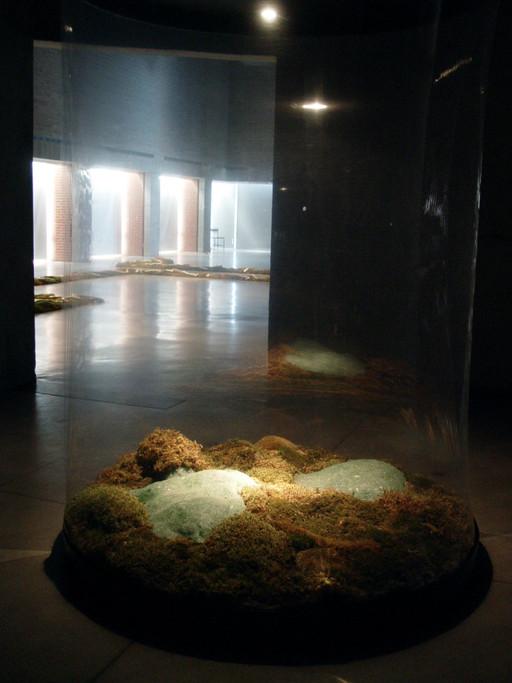 Christian Bernard Singer Enclosure III, 2005 Moss, cast glass, earth, plastic, light, wood 9' x 5' x 5' Canadian Clay and Glass Gallery