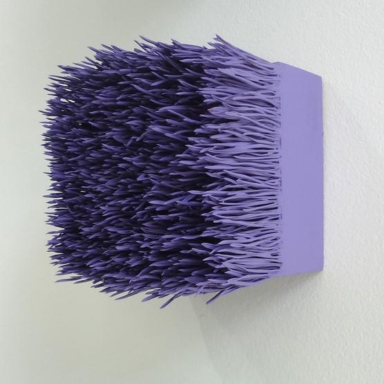 "Christian Bernard Singer Amethyst II, 2017 Pine needles, paint on wood base 4.5"" x 4.5"" x 3.75"""