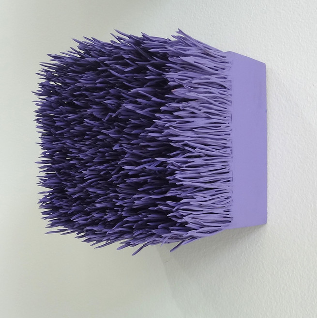 "Christian Bernard Singer Amethyst II, 2017 Pine needles, paint on wood base 4.5"" x 4.5"" x 3.75"""