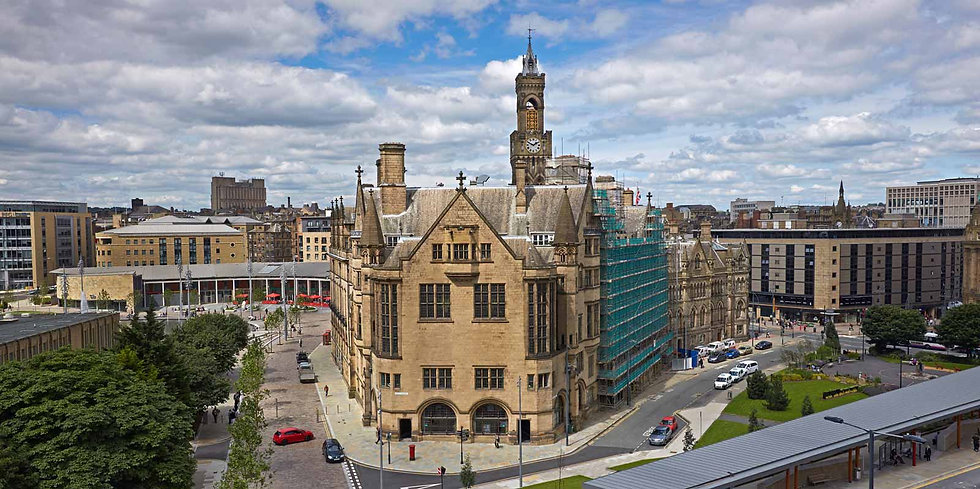Aerial view of Bradford architecture