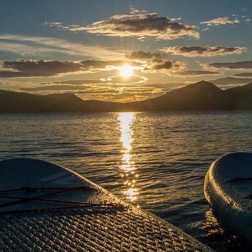 sunset on lake shore