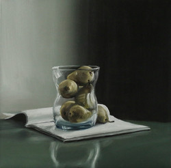 Pears in a Glass with Magazine