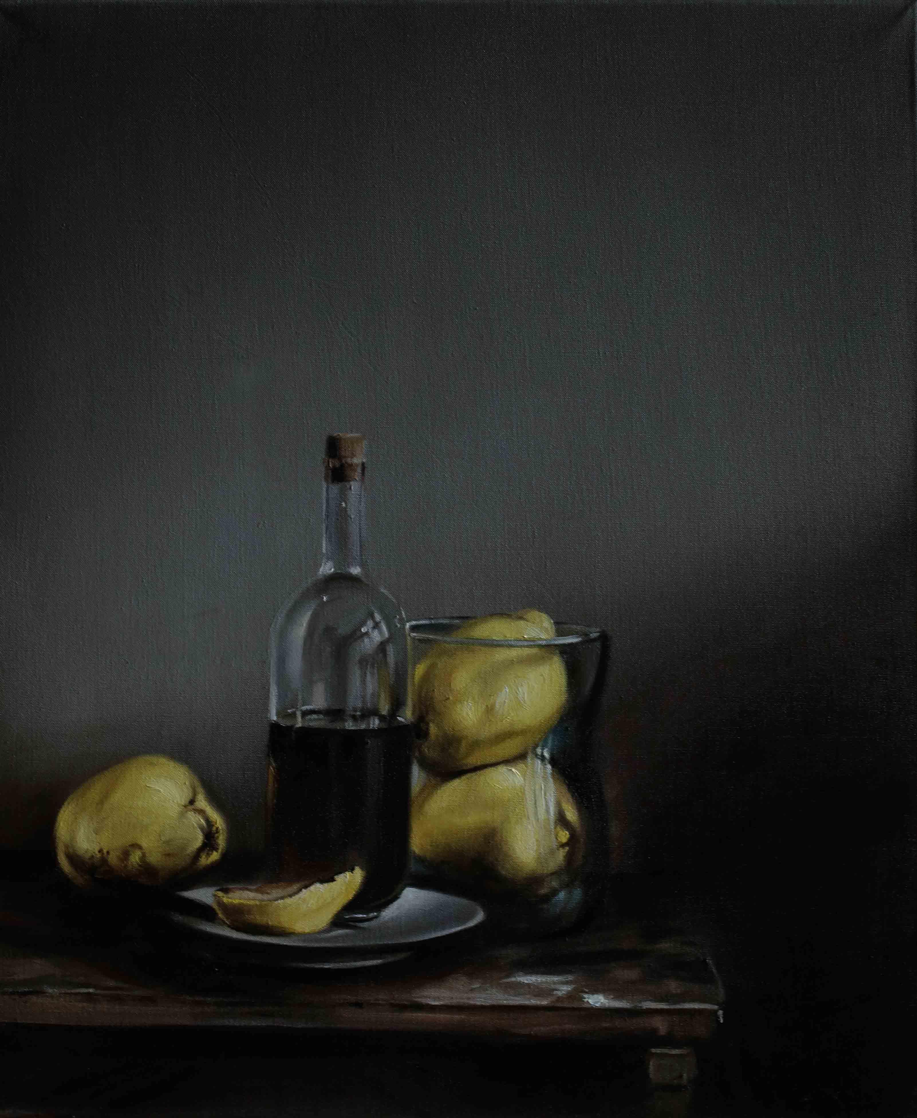 Ölkaraffe und Obst