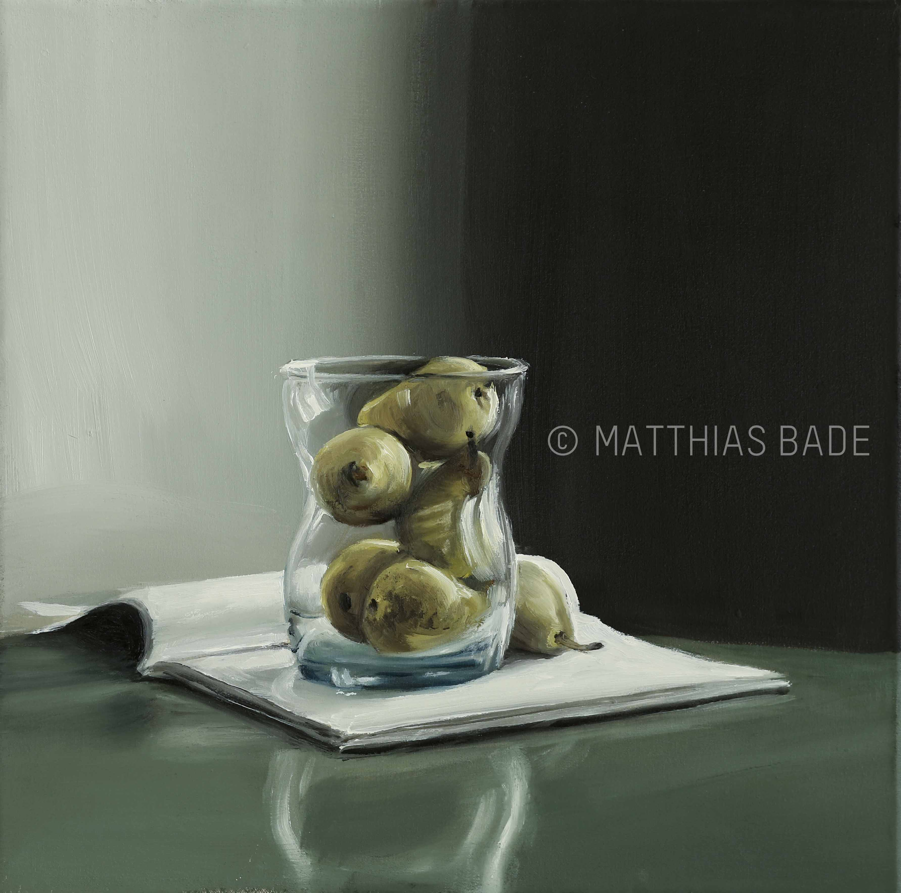 Pears in a Glass on a Green Table