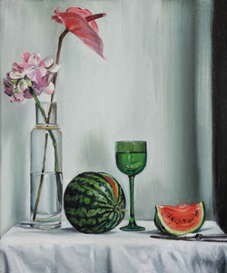 Stillleben mit Hortensie und Melone