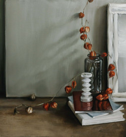 Still-Lifes with Physalis and Books