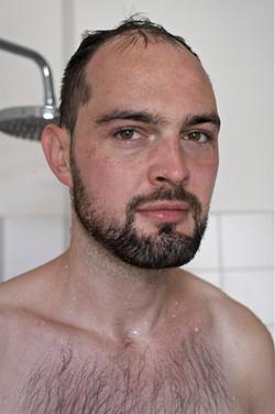 Thomas having a shower