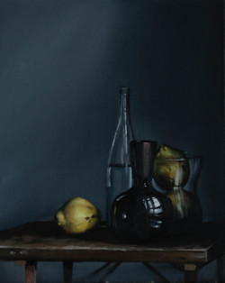 'Quinces, Vase and Bottle'